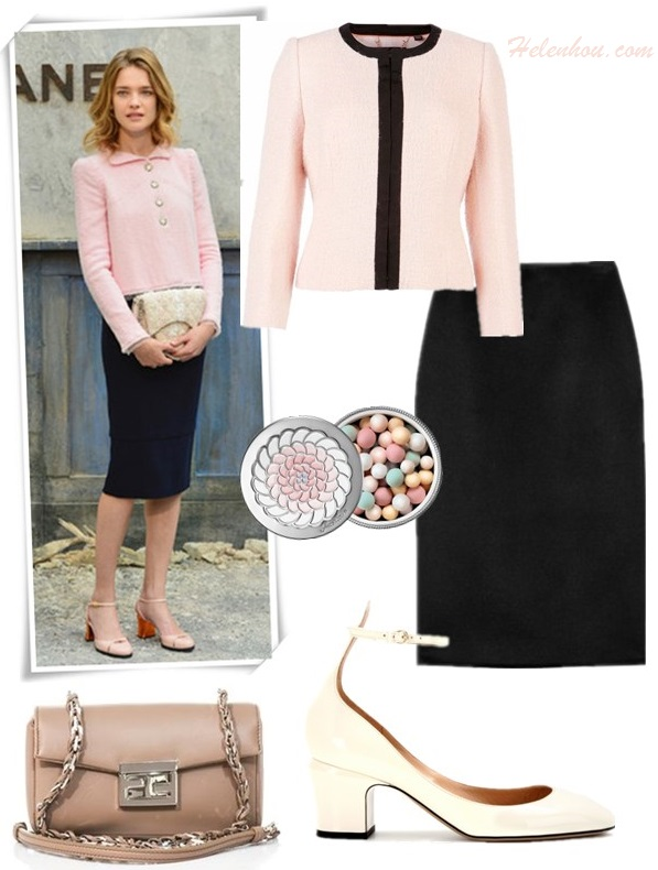The art of accessorizing-helenhou.com-Natalia Vodianova,party outfit,pink jacket, black pencil skirt, chanel, fashion week
