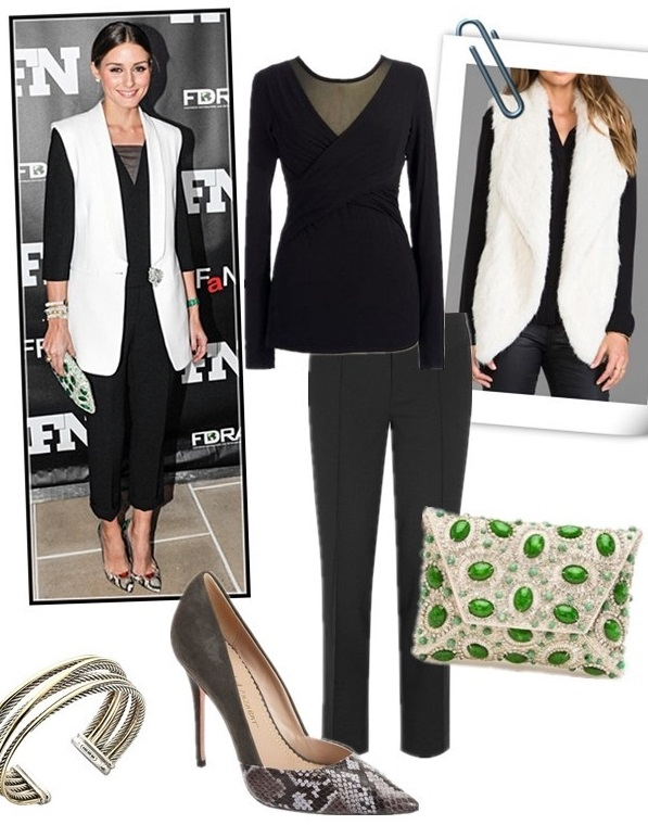 how to wear a vest, how to wear Mid-length coat, how to wear a long jacket/blazer,   fall/winter,party outfits,   Olivia Palermo, Kate Middleton,white vest, black mesh top, black pants, python snakeskin pump, jeweled clutch, grey reiss coat, blue CORD PANT, AQUATALIA boots, pendant necklace, drop earrings,   On Olivia Palermo: white vest, STUART WEITZMANTHE GEMMA CLUTCH, colorblocked snakeskin pump, black top with mesh neck, black crop trousers, diamond bracelet,   Featured:  JuneKNIT FUR VEST , Bailey 44 Celestial Body Top,  J.CREW Eaton cropped stretch-wool pants , STUART WEITZMANTHE GEMMA CLUTCH,  JEAN-MICHEL CAZABAT Emma ,  David Yurman Crossover Cuff ,