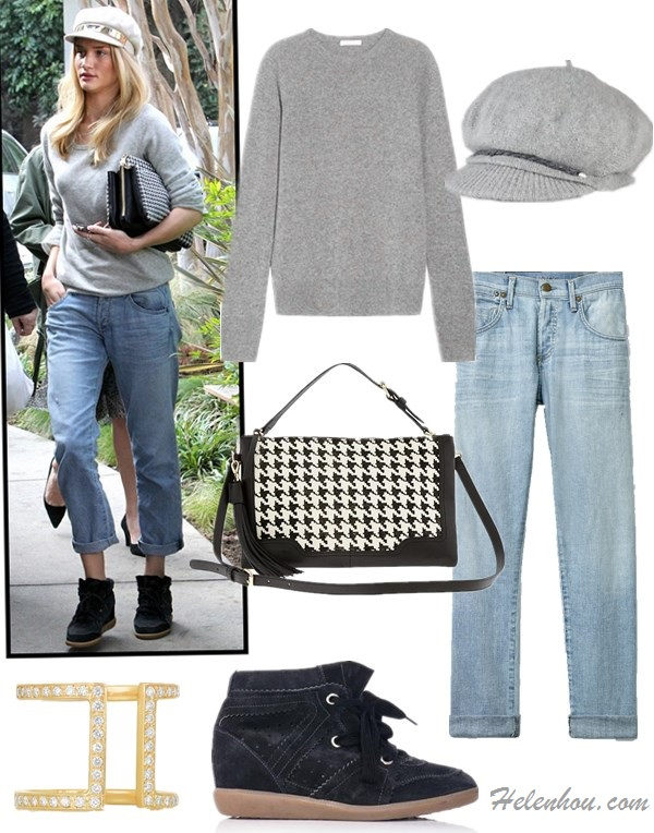 how to wear boyfriend jeans, how to wear chunky sweaters, how to wear fisherman/newsboy cap,   Blake Lively,Rosie Huntington-Whiteley,  On Rosie Huntington Whiteley:  Equipment Sloane grey Sweater,  Citizens of Humanity Dylan boyfriend Jeans,  Chloe Lucy Houndstooth Tweed Bag,   Isabel Marant Betty Sneakers,Halleh 18-karat gold diamond ring,  Featured:  Equipment 'Sloane' Crewneck Cashmere Sweater Heather Grey Medium,  citizens of humanity dylan boyfriend jeans,  Banana RepublicEVAN CONVERTIBLE HOUNDSTOOTH CROSSBODY,  Isabel MarantBOBBY SUEDE HIDDEN WEDGE TRAINERS ,  Ralph LaurenWOOL-BLEND FISHERMAN'S CAP,  HALLEH 18-karat gold diamond ring,