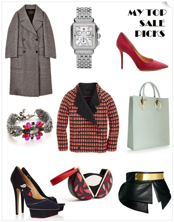 The art of accessorizing-helenhou.com-top holiday sale picks-menswear coat, MICHELE watch, colored pump, CHARLOTTE OLYMPIA Sophie Hulme