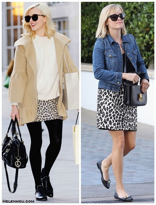 how to wear a leopard skirt, winter white,  Fearne Cotton, Reese Witherspoon, fall/winter, street style, denim jacket, leopard skirt, ankle boots, white sweater, celine bag, sunglasses,    Fearne Cotton wearing: Karen Walker Super Duper Strength Sunglasses, Paul & Joe coat, Zara Ribbed Sweater, ASOS skirt,Mulberry Bag, Senso Bertie Ankle Boots.  Reese Witherspoon wearing: Celine bag, MSGM leopard skirt, Current/Elliott Snap Jacket,  Givenchy ballet flat.