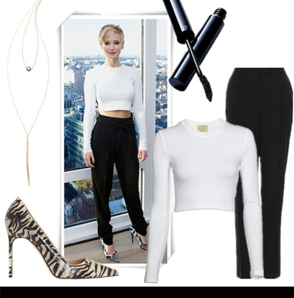how to wear crop tops,how to accessories black and white,   Jennifer Lawrence, Cate Blanchett, party outfits, fall/winter,   Featured:  Necklace: Heather Hawkins Pyrite Dagger, Shoes: Manolo Blahnik BB Zebra-Print Snakeskin Pumps , Makeup: Cle de Peau Beaute The Mascara, Top: Torn by Ronny Kobo Oli Crop Top, Pants: Topshop TALL STITCH CIGARETTE TROUSERS