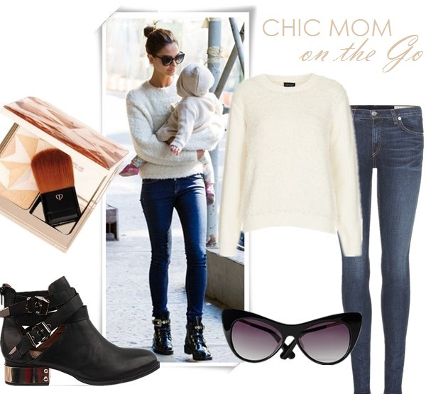 Mom's Outfits Ideas, how to wear ankle boots,  Street style, fall/winter,  Lily Aldridge, Miranda Kerr, Street style, maxi dress, leather jacket, white sweater, skinny jeans, ankle boots, sunglasses,Givenchy 'Antigona'   On Lily Aldridge:white jumper/sweater, blue skinny jeans, black leather ankle boots,   Featured:  Sweater: TOPSHOP KNITTED LOOPY STITCH JUMPER,  Jeans: Rag & Bone/JEAN Skinny Jeans, Shoes: Jeffrey Campbell 'Everly' Bootie,  Sunglasses: Elizabeth and James Lafayette Cat Eye Sunglasses,  Makeup: Clé de Peau Beauté     Luminizing Face Enhancer in Gold,