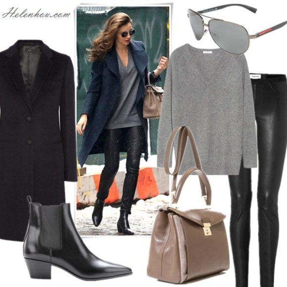 Wardrobe essentials; how to wear leather pants, Victoria Beckham, Miranda Kerr, street style, fall/winter, model off duty look,   On Miranda Kerr: black coat, Helmut Lang Stretch Leather Pants, SAINT LAURENT black ankle BOOTS, hermes bag,  Featured: Coat: JOSEPH Man wool and cashmere-blend coat,  Top: EQUIPMENT Asher cashmere sweater, Pants: Helmut Lang Stretch Leather Pants,  Bag: MARC JACOBS Metropolitan leather bag,  Shoes: SAINT LAURENT 40MM SL ROCK LOW BOOTS, Shoes: Saint Laurent,  Sunglasses: Prada Metal Aviator Sunglasses,