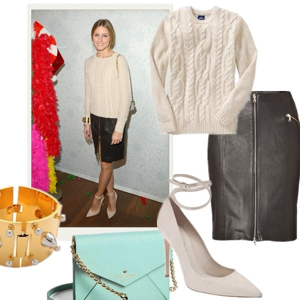 The Art of Accessorising-Helenhou.com-Olivia Palermo, cable knit sweater, zip leather skirt, old navy, ankle strap pump, chloe