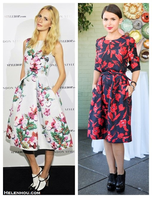 how to wear a midi dress, how to wear floral print, party outfit ideas,  	Oscar de la Renta for The Outnet collection,  	Poppy Delevingne, Miroslava Duma, floral midi dress, Mary Katrantzou,   	On Poppy Delevingne, Mary Katrantzou floral dress;  	On Miroslava Duma :OSCAR DE LA RENTA FOR THE OUTNET red Floral-print dress;