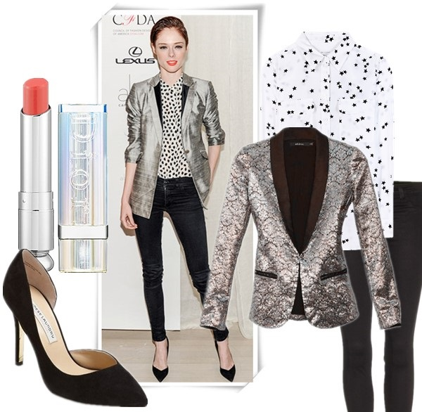 how to wear metallic, how to wear legging boots,   Karlie Kloss, Coco Rocha, party outfit ideas, girls night out outfits, metallic blazer, skinny jeans, Legging Boots, bright lips, Coco Rocha wearing: metallic jacket, printed button-up shirt, black skinny jeans, black pumps, orange lips,   Featured: Lip: Dior Addict Lipstick in Charmante 437 - soft coral perfect orange,  Shoes: Kristin Cavallari Chinese Laundry Kristin Cavallari 'Copertina' Pump,  Blazer: NastyGal Pleasure & Privilege Blazer,  Top: Equipment PRINTED SILK SHIRT,  Jeans:  J Brand 915 Super Skinny Legging Jeans
