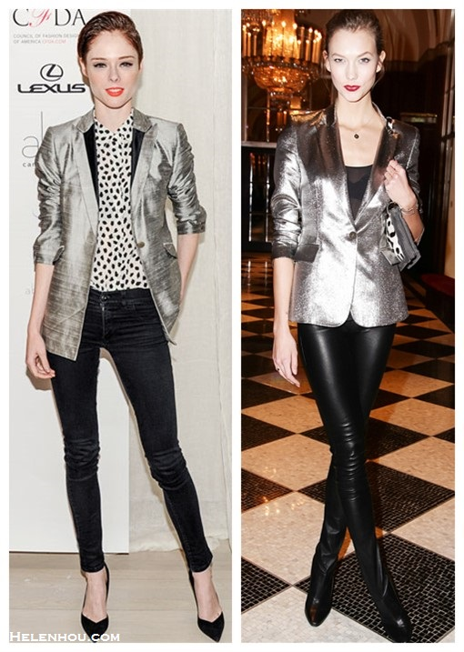 how to wear metallic, how to wear legging boots,   Karlie Kloss, Coco Rocha, party outfit ideas, girls night out outfits, metallic blazer, skinny jeans, Legging Boots, bright lips,  Karlie Kloss wearing: Tamara Mellon metallic blazer and bag, Tamara Mellon Sweet Revenge Leather Legging Boots;   Coco Rocha wearing: metallic jacket, printed button-up shirt, black skinny jeans, black pumps, orange lips,