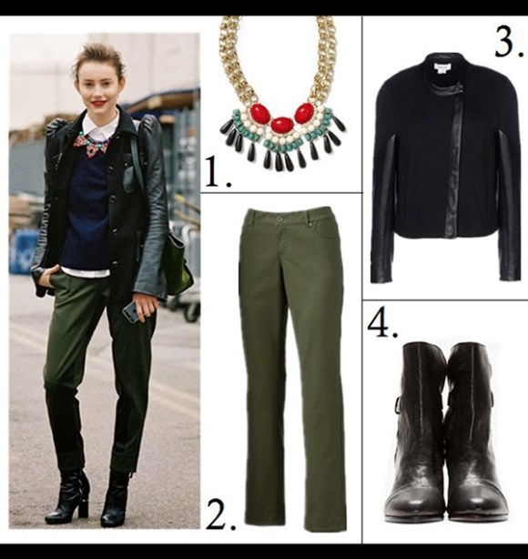 how to wear a leather jacket, how to wear the oversized coat, winter outfit ideas,   street style, models off duty look, fall/winter,  Miranda Kerr, Rosie Huntington-Whiteley, street style, Lauren Bigelow;   street style on fashion week: jcrew statement necklace, leather sleeve jacket, green pants,navy sweater, white button down shirt,black leather ankle boots,   Featured:   1. Pim + Larkin Tribal Cabochon Statement Necklace,  2. Kohls SONOMA life + style® Modern Fit Twill Straight-Leg Pants,  3. HELMUT LANG leather JACKET,  4. Rag & BoneKINSEY BOOTS,