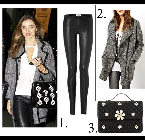 how to wear a leather jacket, how to wear the oversized coat, winter outfit ideas,   street style, models off duty look, fall/winter,  Miranda Kerr, Rosie Huntington-Whiteley, street style, Lauren Bigelow;   On Miranda Kerr:prada floral applique bag, Isabel Marant Khan Tweed Coat,Helmut Lang Stretch Leather Pants,alc white blouse,  Featured:   1. Helmut Lang Stretch Leather Pants,  2. ASOS Biker Coat in Texture,  3. MOSCHINO CHEAP & CHIC Quilted Floral Bag,
