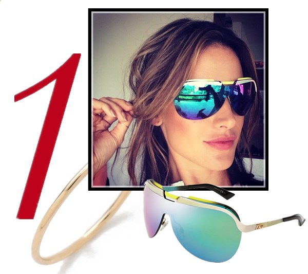 celebrity instagram, sunglass trend, vacation looks,  Alessandra Ambrosio, Miranda Kerr, Cheryl Cole, Rosie Huntington-Whiteley, Demi Lovato.  On Alessandra Ambrosio: Dior Multicolor-Bar Shield Sunglasses,   Featured:  Ginette_NYCircle Ring, Dior Multicolor-Bar Shield Sunglasses