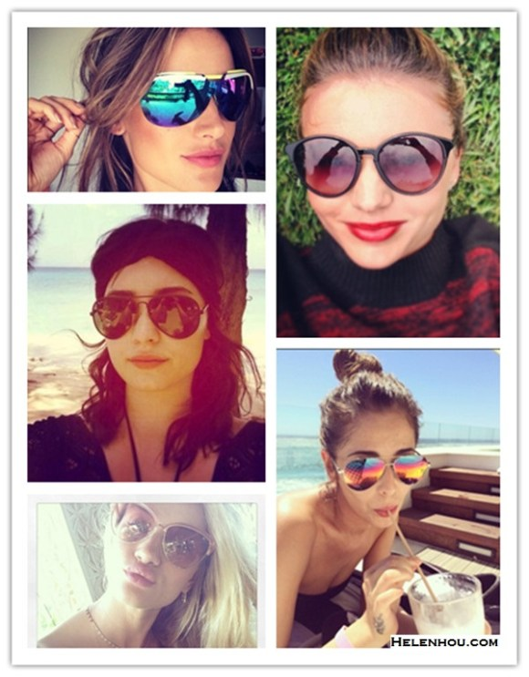 celebrity instagram, sunglass trend, vacation looks,  Alessandra Ambrosio, Miranda Kerr, Cheryl Cole, Rosie Huntington-Whiteley, Demi Lovato.  On Alessandra Ambrosio: Dior Multicolor-Bar Shield Sunglasses,    On Miranda Kerr: Alexander Wang Marled Colorblock Mock Neck Sweater,Stella McCartney Retro Sunglasses,  On Cheryl Cole in South Africa: blue bikini and aviator mirror sunglasses by Cutler and Gross,  On Rosie Huntington-Whiteley: Oliver Peoples Alisha Oversized Cat's-Eye Sunglasses, Anita Ko jewelry, Triangle Necklace,  On Demi Lovato: Ray-Ban Polarized Aviator Sunglasses, black Turban  headband,
