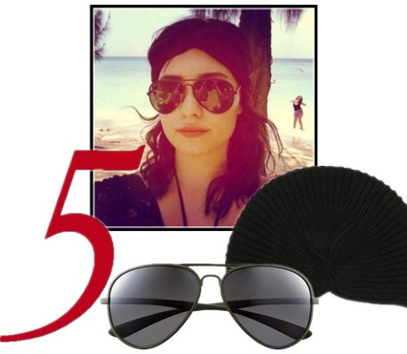 celebrity instagram, sunglass trend, vacation looks,  Alessandra Ambrosio, Miranda Kerr, Cheryl Cole, Rosie Huntington-Whiteley, Demi Lovato.  On Demi Lovato: Ray-Ban Polarized Aviator Sunglasses, black Turban  headband,  Featured:  Ray-Ban Polarized Aviator Sunglasses, urbanoutfitters Rib-Knit Turban Beanie,