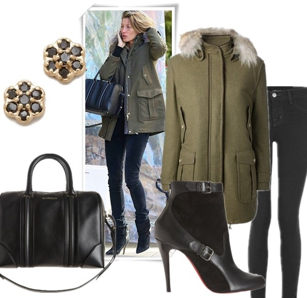 How to Dress for Zero-Degree Temperatures; How to Wear a Parka;  featured: Earrings: ginette_ny Mini Lotus Stud Earrings,  Bag:  Givenchy Lucrezia duffel Bag,  Jacket: FAY padded jacket,  Jeans: J Brand Maria High Rise Powerstretch Legging Jeans,  Boots: CHRISTIAN LOUBOUTIN canassone boots,