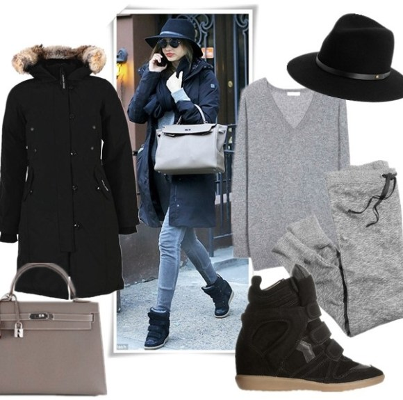 How to Dress for Zero-Degree Temperatures; How to Wear a Parka;  featured: ISABEL MARANT The Bekett leather and suede concealed wedge sneakers,  Hermes Etoupe Epsom Kelly Bag,  Rag & Bone Floppy Brim Fedora – Black,  Canada Goose Kensington Parka,  jcrew skinny sweatpants,  Equipment 'Asher' V-Neck Cashmere Sweater,