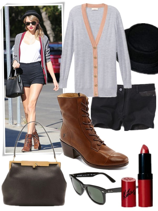 weekend outfit ideas 2013, featured: Cardigan: tory burch boyfriend SIMONE CARDIGAN grey, Hat: free people Patton Pork Pie Hat, Shorts: T BY ALEXANDER WANG Leather And Twill Shorts, Boots: Frye 'Courtney' Boot, Bag: Dolce & Gabbana Sara Pebbled Frame Shoulder Bag, Sunglasses: Ray-Ban 'Classic Wayfarer' 50mm Polarized Sunglasses, Lip: Rimmel London Kate Matte Lipstick,