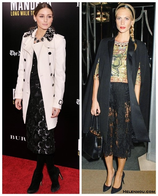 how to wear lace, trench coat outfit ideas, Olivia Palermo, Poppy Delevingne, party outfit idea, white trench coat, black embellished dress, statement necklace, cape, lace skirt, dolce gabbana,  On Olivia Palermo: white trench coat, black floral dress, black heels, statement necklace,    On Poppy Delevingne at Claridge's Christmas Tree Unveiling party in London: lace see through skirt, printed crop top, black cape vest, pump, black bag,
