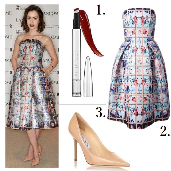 how to wear florals;   Lily Collin, Bella Thorne, Party Outfits,Formal Wear, Night Out, florals, crop top, maxi skirt, On Lily Collin: Mary Katrantzou Foli rose-print strapless dress, Smythson purse, Jimmy Choo Abel patent nude pump, Jack Vartanian bracelet, Soffer Ari ring;   Featured:  1. SephoraELLIS FAAS CREAMY LIPS in '101' 2. Mary Katrantzou Foli rose-print strapless dress (also here; great alternative here & here) 3. Jimmy Choo 'Abel' Patent Leather Pump (similar here)