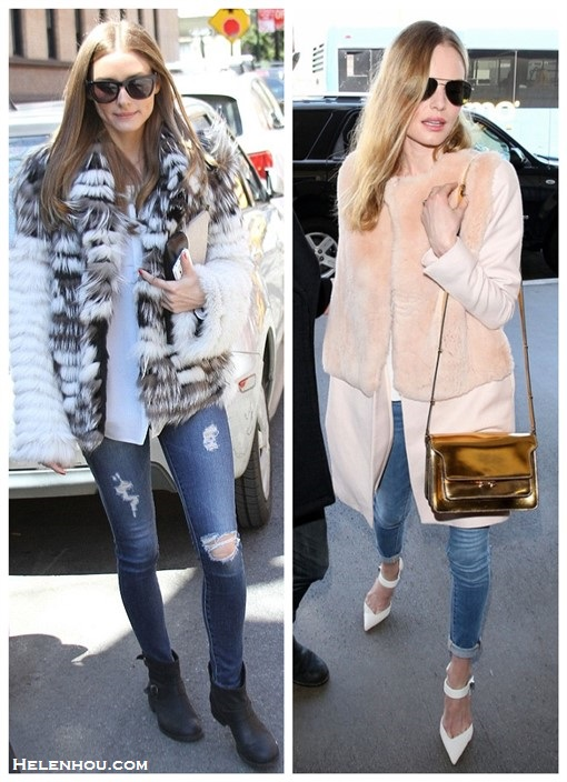 how to wear faux fur coat,  Olivia Palermo, Kate Bosworth, Casual Attire, Street Style, fall/winter, spring/summer, faux fur, metallic, distressed jeans, skinny jeans, ankle boots,  On Kate Bosworth at LAX airport on February 10 2014:  Katie Ermilio pink fur coat,  Frame Denim blue skinny jeans, Aldo ankle strap white pump, Oliver Peoples West sunglasses, gold shoulder bag by Marni,   On Olivia Palermo: AG Adriano Goldschmied The Legging Ankle jeans, Report Women's Juliee Bootie, fur coat