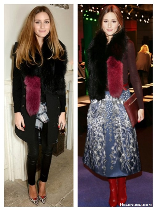 how to wear fur stole, fashion week front row style, how to wear prints,     OLIVIA PALERMO At the Peter Pilotto fall/winter 2014 show:  oxblood long-sleeve top, Charlotte Simone fur stole, burgundy clutch, Peter Pilotto printed skirt,  Christian Louboutin brown boots,  Aquazzura Positano Snakeskin Pumps   OLIVIA PALERMO at the Whistles presentation: black double breasted coat, Charlotte Simone fur stole, leather pants, Rails Hunter Plaid Shirt, Aquazzura Positano Snakeskin Pumps,