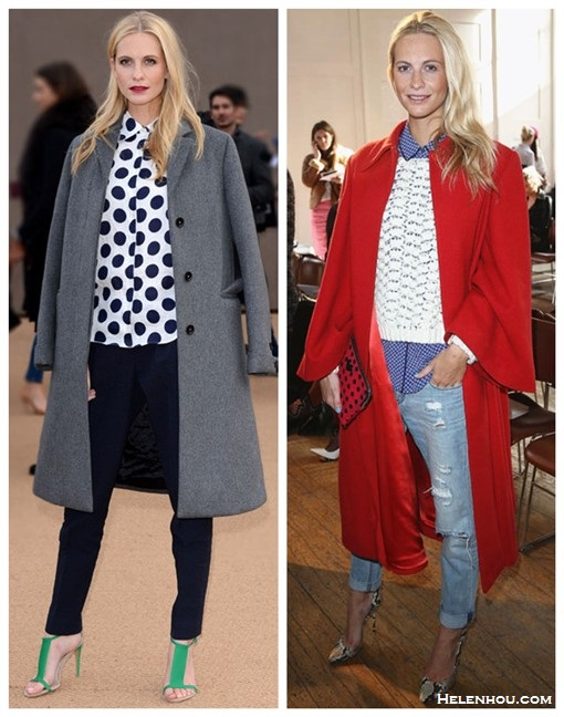 How to wear the oversized coat trend,      On Poppy Delevingne at london fashion week (left): Burberry Prorsum Polka Dot Linen Blouse, grey coat, navy pants, green strap sandal,   On Poppy Delevingne (right): DOLCE & GABBANA red coat, blue polka dot blouse, white crochet sweater, distressed jeans, snakeskin pump, red polka dot clutch.