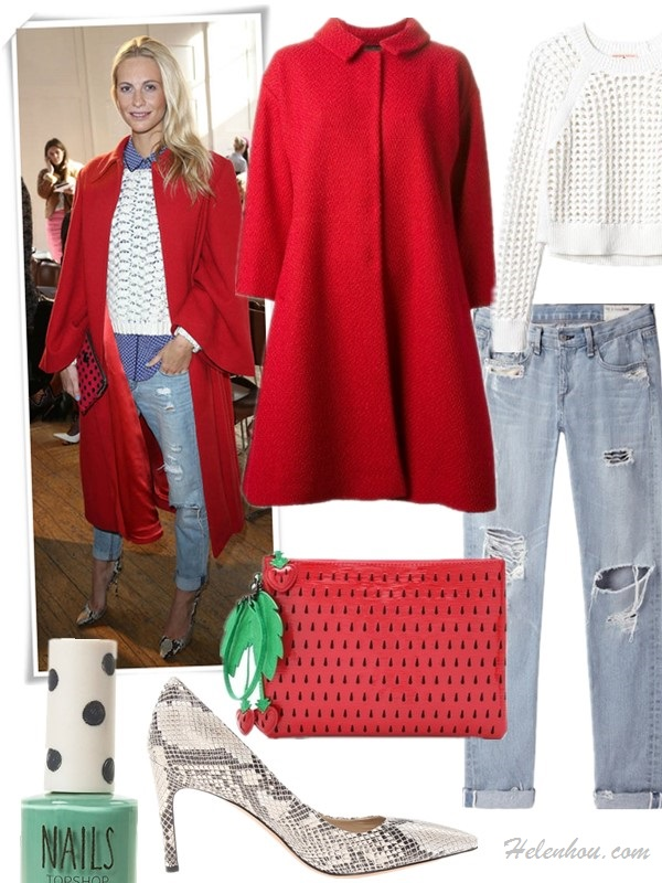 How to wear the oversized coat trend,   On Poppy Delevingne (right): DOLCE & GABBANA red coat, blue polka dot blouse, white crochet sweater, distressed jeans, snakeskin pump, red polka dot clutch.  Clockwise from topleft:  Coat: DOLCE & GABBANA single breasted coat (adore the sleeve design and silk/wool blend material; alternative here)  Sweater: Rebecca Taylor  LONG SLEEVE OPEN LATTICE SWEATER  Jeans: Rag & Bone Jean Distressed Boyfriend Jeans (anther great style here)  Bag: alice + olivia Strawberry Clutch (last seen here)  Shoe: Via Spiga Pointed Toe Pumps – Idalis High Heel (disigner version here)  Nail: Topshop 'Cream' Nail Polish