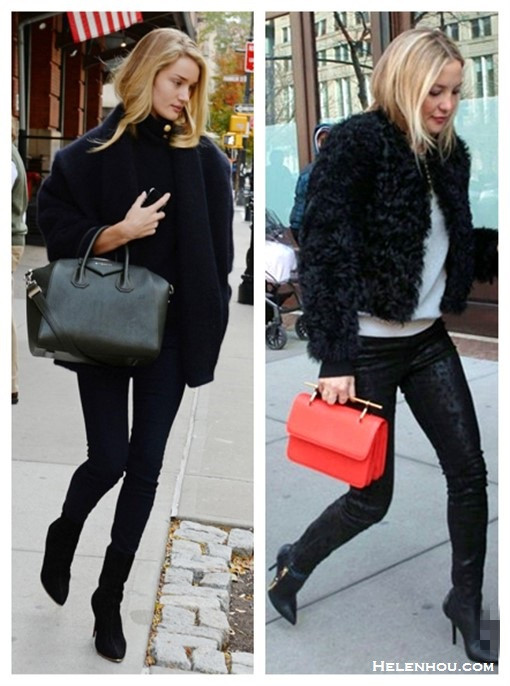 fall/winter coat style, how to wear a cocoon coat, how to wear a fur jacket, Rosie Huntington Whiteley, Kate Hudson, fall/winter,Street Style, Models off Duty,Casual Attire