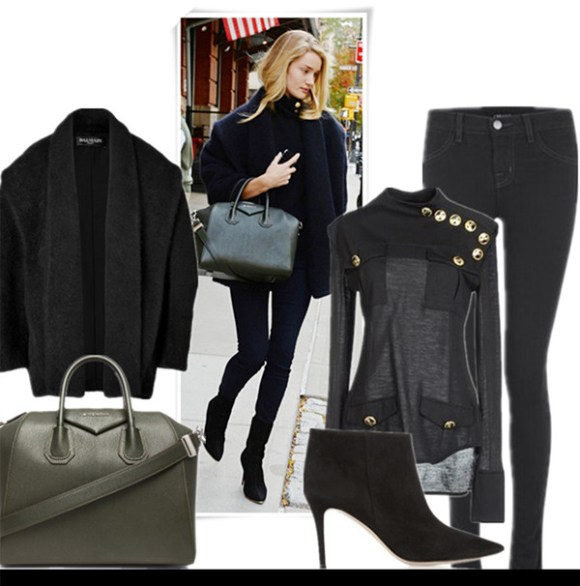 fall/winter coat style, how to wear a cocoon coat, how to wear a fur jacket, Rosie Huntington Whiteley, Kate Hudson, fall/winter,Street Style, Models off Duty,Casual Attire,  Featured: Coat: BALMAIN Angora-Blend Cocoon Coat, Bag: GIVENCHY Small Antigona Duffel, Jeans: J Brand 915 Super Skinny Legging Jeans, Sweater: BALMAIN funnel neck button detail sweater, Shoes: GIANVITO ROSSI Suede ankle boots,