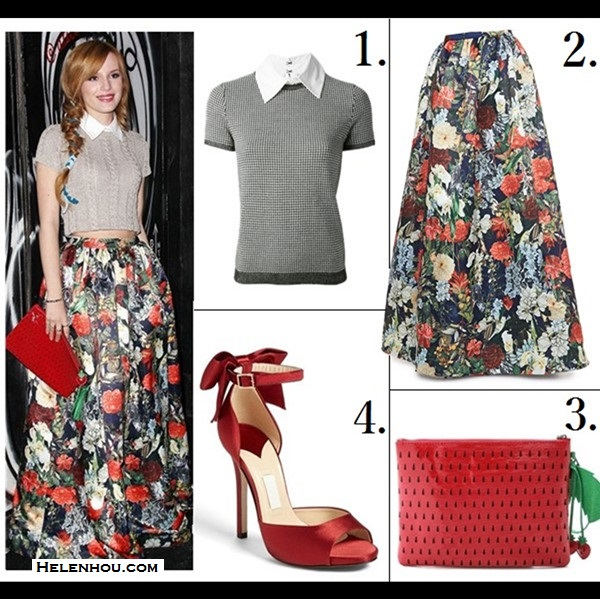 how to wear florals;   Lily Collin, Bella Thorne, Party Outfits,Formal Wear, Night Out, florals, crop top, maxi skirt, On Bella Thorne: alice + olivia Top with Collar, alice + olivia floral Maxi Skirt, alice + olivia Strawberry Clutch.  Featured:  1. alice oliviaHOUNDSTOOTH TOP WITH COLLAR 2. Alice + Olivia Ball Gown Maxi Skirt (also here; similar here)also adore the short poof version here; ) 3. alice + olivia Strawberry Clutch (also here) 4. kate spade new york 'chrissie' sandal (similar here)