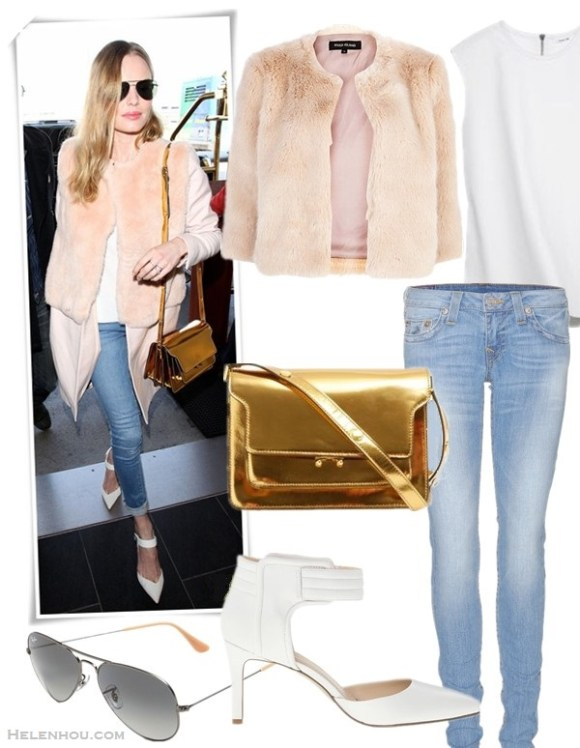 how to wear faux fur coat,   On Kate Bosworth at LAX airport on February 10 2014:  Katie Ermilio pink fur coat,  Frame Denim blue skinny jeans, Aldo ankle strap white pump, Oliver Peoples West sunglasses, gold shoulder bag by Marni,  Featured:  Clockwise from top left:  Coat: Light pink cropped faux fur coatby: River Island  Top: Helmut Lang Ravel Tank Top  Jeans: True ReligionSTELLA SKINNY JEANS  Bag: Marni METALLIC LEATHER TRIPLE-GUSSET SHOULDER BAG (similar here)  Shoes: Nine West Chanterele  Sunglasses: Ray-Ban 'Original Aviator' 58mm Sunglasses (on Kate Bosworth here)