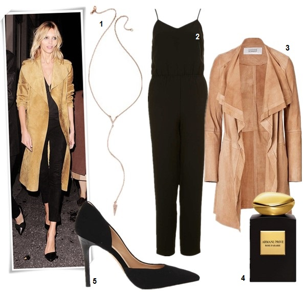 How to wear a camel coat, On Anja Rubik at Vogue and Vanity Fair dinner organized by Jonathan Newhouse: celine brown suede coat from Céline Cruise 2014 collection, black pants, black pump, gold necklace, Repossi Berbère Pavé ring. featured:  1. Rebecca Minkoff Y Necklace  2. Topshop HEAVY LUX STRAPPY V JUMPSUIT (also here)  3. STEFFEN SCHRAUT Suede Sahara Coat (great buy here & here)  4. Giorgio Armani Privé Rose d'Arabie Intense,  5. Jessica Simpson Claudette