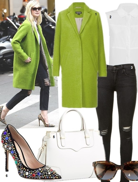 2014 spring coats; How to wear a bright coat; Celebrity Maternity Style,  On ELLE FANNING Paris Fashion Week: Christopher Kane sheer button up shirt,  Miu Miu 56mm Sunnies, Miu Miu 'Madras' shoulder bag, Miu Miu 'Donna' jeweled pumps, Topshop Oversized Wool Boyfriend Coat   Featured:  1. Topshop Oversized Wool Boyfriend Coat (also here; similar here & here here)   2. Lavish Alice Sleeveless Shirt with Sheer Panel  3. Rag & Bone/JEAN The Skinny Jeans  4. Prada Oversized Retro Sunglasses  5. Rebecca Minkoff 'Amorous' Satchel (on Elle Fanning here)  6. Miu Miu Donna Jeweled Suede Pumps (also here; similar here & here)