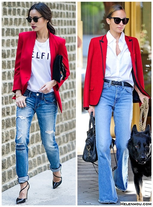 how to wear a red blazer, how to wear wide leg pants,   Jamie Chung, Nicole Richie, Casual Attire, spring/summer, Street Style, bright colored blazers, distressed jeans, boyfriend jeans, wide leg pants, white shirt, ankle boots, black pumps,   On Jamie Chung: Ray-Ban Clubmaster Classic Sunglasses, Resse + Riley blazer, Sincerely Jules Celfie T, American Eagle jeans, Antik Batik clutch, Alice + Olivia Delia Patent Leather Heels,  On Nicole Richie: House of Harlow 1960 cat eye sunglasses, Saint Laurent contrast trim blazer, Balenciaga Classic Town Bag, Black, white shirt, wide leg flared jeans,