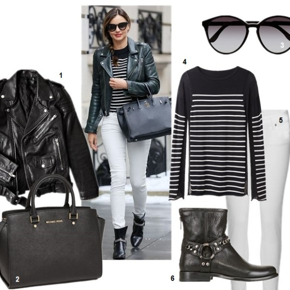How to wear white jeans; Transitional Dressing;  On Miranda Kerr: T by Alexander Wang stripe top, Saint Laurent Rock leather ankle boots, Saint Laurent leather biker jacket, 	Hermes birkin bag, white jeans.  featured: 1. BLK DNMMOTORCYCLE JACKET WITH QUILTED STRIPES (similar here; on Miranda Kerr here)  2. MICHAEL Michael Kors 'Large Selma' Leather Satchel black  3. Stella McCartney Oversized Round Sunglasses  4. T by Alexander Wang Panel Stripe Knit Pullover in Ink & Ivory (on sale! also here & here)  5. Paige Denim 'Skyline' Ankle Peg Skinny Jeans (Optic White) (supper comfy and petite friendly! similar here)  6. FRYE PHILLIP CHAIN LEATHER ANKLE BOOTS (on Miranda Kerr here)