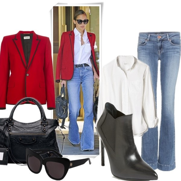 how to wear a red blazer, how to wear wide leg pants,      On Nicole Richie: House of Harlow 1960 cat eye sunglasses, Saint Laurent contrast trim blazer, Balenciaga Classic Town Bag, Black, white shirt, wide leg flared jeans,   From left to right:  Blazer: SAINT LAURENT contrast trim blazer (similar here)  Bag: BALENCIAGA CLASSIC TOWN BAG, BLACK - BALENCIAGA (equally chic alternative here)  Sunglasses: House of Harlow 1960 Chelsea (also here)  Blouse: Equipment MARGAUX BLOUSE (similar here)  Jeans: J Brand Lovestory jeans (similar here)  Shoe: Saint Laurent Gored Bootie (similar here)