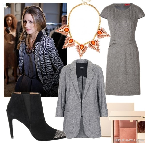 Olivia Palermo instagram style,  On Olivia Palermo:barblebar collar necklace, grey contrast collar blazer, grey dress, thigh high boots.   From left to right:  Joe's Jeans Jenny Booties (also on sale here)  BaubleBar MONARCH WING COLLAR Mohawk Collar necklace   Topshop ROLL SLEEVE THROW ON JACKET  HUGO Sheath Dress in Medium Grey  Clarins 'Blush Prodige' Illuminating Cheek Color
