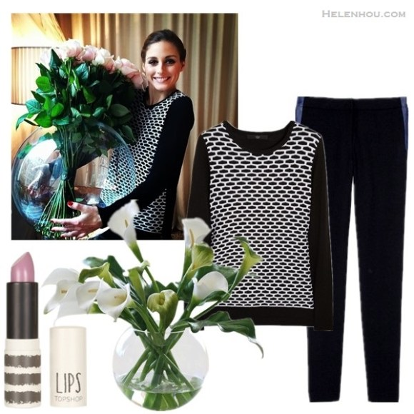 Olivia Palermo instagram style,  On Olivia Palermo:Tibi Intarsia cotton and modal-blend sweater, hudson side stripe jeans;    From left to right:  topshop lipstick  Calla Lilies in Glass Ball Bowl by Jane Seymour Botanicals 15 in. tall whiteby: Jane Seymour Botanicals  Tibi Intarsia cotton and modal-blend sweater  tibi ANSON STRETCH DENIM PANT (adore the tailored vibe and unexpected denim stripes!)
