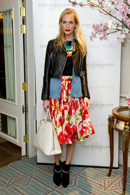 How to wear floral, leather jacket outfit,   Poppy Delevingne at Mrs Alice in her Palace launch, London - March 27 2014 wearing:  J Brand leather jacket, floral midi skirt, Bella Freud jumper, denim shirt, Saint Laurent chain trim ankle boots,