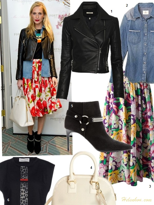 How to wear floral, leather jacket outfit,   Poppy Delevingne at Mrs Alice in her Palace launch, London - March 27 2014 wearing:  J Brand leather jacket, floral midi skirt, Bella Freud jumper, denim shirt, Saint Laurent chain trim ankle boots,   1. J Brand Ready-to-Wear Aiah Leather Crop Moto Jacket (similar here & here)  2. AG Adriano Goldschmied Denim Chambray Shirt (also love this)  3. Kenzo Vintage floral print skirt (similar here & here)  4. Tory Burch Perforated satchel  5. Saint Laurent PARIS SUEDE ANKLE BOOTS (on sale here! similar here)  6. Etre Cecile Sleeveless t Shirt