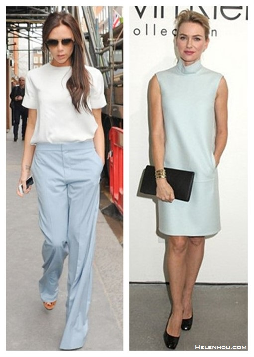 How to wear pastels;   Victoria Beckham London March 20 2014: wearing Chloe Buckle Strap Wedge Sandals, Chloe Wool Wide Leg Pants, Equipment Logan washed-silk top.   Naomi Watts. Calvin Klein Collection show - February 13,2014: ice blue mock neck sheath dress, black pump and clutch, gold cuff.