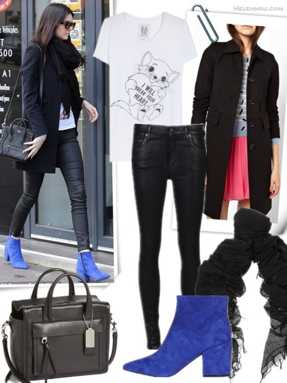 how to wear leather pants,  Cold-Weather Outfit Ideas,  On Kendall Jenner:  blue suede ankle boots from TOPSHOP, black leather pants, black coat and black Celine crossbody bag.   featured:  Clockwise from top left:  Zoe Karssen I Will Break Your Heart cotton and modal-blend T-shirt  Sonia by Sonia Rykiel Longline Mannish Coat in Double Jersey (another great buy on sale here)  CHAN LUU Cashmere and silk-blend scarf  Topshop ABA POINTED ANKLE BOOTS  Citizens of HumanityRACER LEATHERETTE JEANS  COACH 'Bleecker - Mini Riley' Leather Crossbody Bag