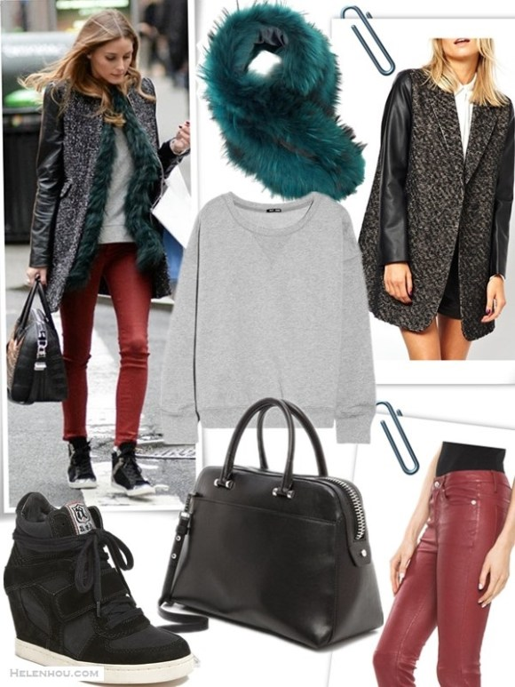 how to wear leather pants,  Cold-Weather Outfit Ideas,  On Olivia Palermo: Zara Coat with Leather Sleeve, Moncler Amelle Vest, Givenchy Black Leather Croc-Embossed Antigona Duffle Bag, Topshop Moto Red Coated Leigh Jeans, Zara Leather Sneaker Boots with Edging;    featured:  Clockwise from top left:  Charlotte Simone Emerald Fur Scarf Cuff (similar on sale here)  ASOS Coat With Leather Look Sleeves  BLK DNM5 POCKET SKINNY LEATHER PANT IN BLOOD RED (alternative here & here)  Milly Blake Medium Satchel Time's Arrow Gongola Serpent Julian Duffel (on Olivia Palermo here)  BLK DNM 6 cotton-blend fleece sweatshirt ($53 here)  Ash 'Cool' Sneaker (also here)