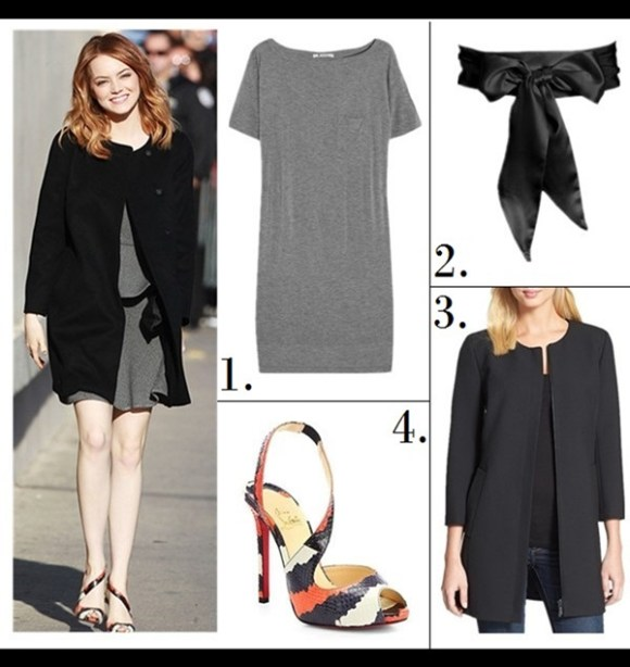 statement shoes 2014;   Emma Stone at Jimmy Kimmel Live, LA, April 3 2014: black collarless coat, grey dress, Christian Louboutin Viveka Snakeskin Sandals with asymmetrical straps.  1. T by Alexander Wang Jersey T-shirt dress (similar on sale here)  2. L. Erickson Silk Charmeuse Bridal Obi Sash  3. Classiques Entier® 'City Weave' Zip Front Topper  4. Christian Louboutin Viveka Snakeskin Sandals (love the color way and sexy asymmetrical strap! see similar designs below)