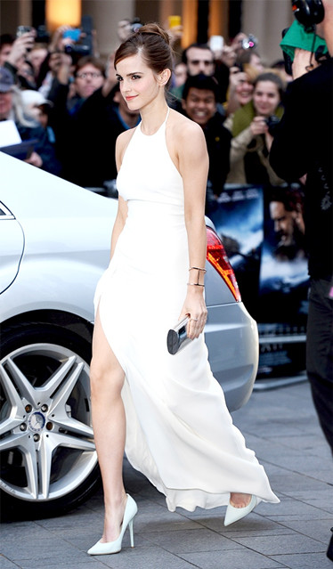 Emma Watson At the Noah premiere, London wearing Ralph Lauren Collection dress, Anita Ko earrings, Jennifer Fisher bracelets, Monica Vinader rings, Jennifer Meyer rings, Monique Péan ring, Jimmy Choo bag and shoes.