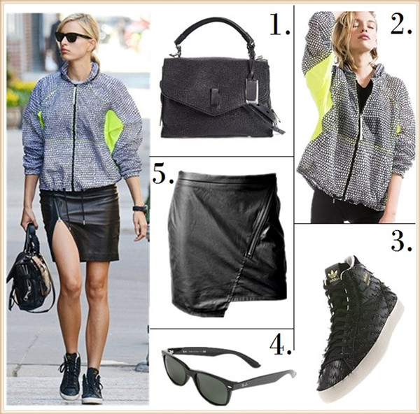 Karolina Kurkova street style 2014  featured: 1. Gryson Textured Leather Ruby Tophandle Crossbody (great alternative here)  2. Adidas Flocked Windbreaker Jacket   3. Adidas BASKET PROFI EAGLE SHOES (on sale!)  4. Ray-Ban 'New Large Wayfarer' 55mm Sunglasses  5. Sanctuary blogger skirt (also here; similar here)