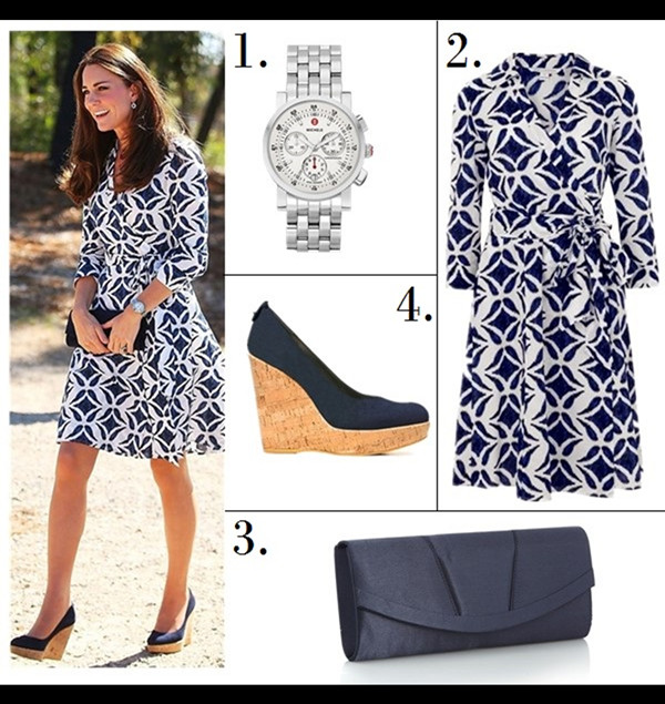 Helenhou.com-Kate Middleton wearing Cartier Watch,lkbennett Sledge nude pump, dvf printed dress, Roksanda Ilincic yellow dress, Stuart Weitzman  wedge and clutch1