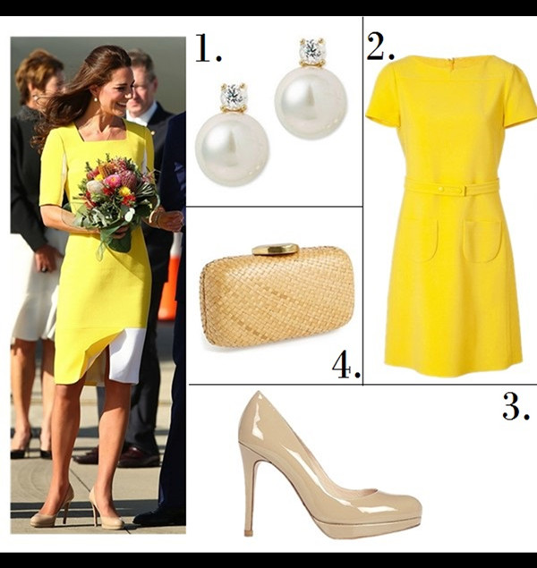 Helenhou.com-Kate Middleton wearing Cartier Watch,lkbennett Sledge nude pump, dvf printed dress, Roksanda Ilincic yellow dress, Stuart Weitzman  wedge and clutch2