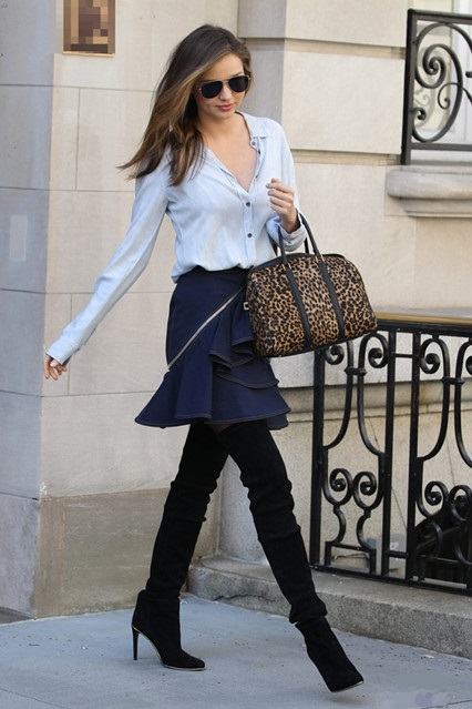 Helenhou.com-Miranda Kerr, Givenchy denim Ruffled Skirt, A.L.C. Leopard Satchel, balmain thigh high boots, Oliver Peoples Aviator Sunglasses