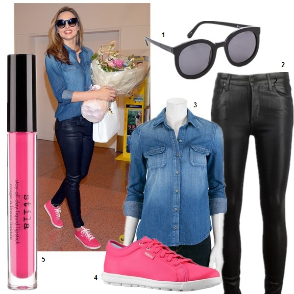 How to wear sneakers;  Miranda Kerr, Casual Attire, Celebrity Airport Style,Models off Duty,spring/summer, sneakers, denim shirt, leather pants Featured: 1. Karen Walker Super Duper Strength Sunglasses (also here)  2. Citizens of Humanity Rocket Leatherette Jeans (my favorite coated denim!)  3. AG Adriano Goldschmied Dakota Denim Shirt  4. Reebok SKYSCAPE RUNAROUND  5. Stila 'stay all day' liquid lipstick in 'Fiore'