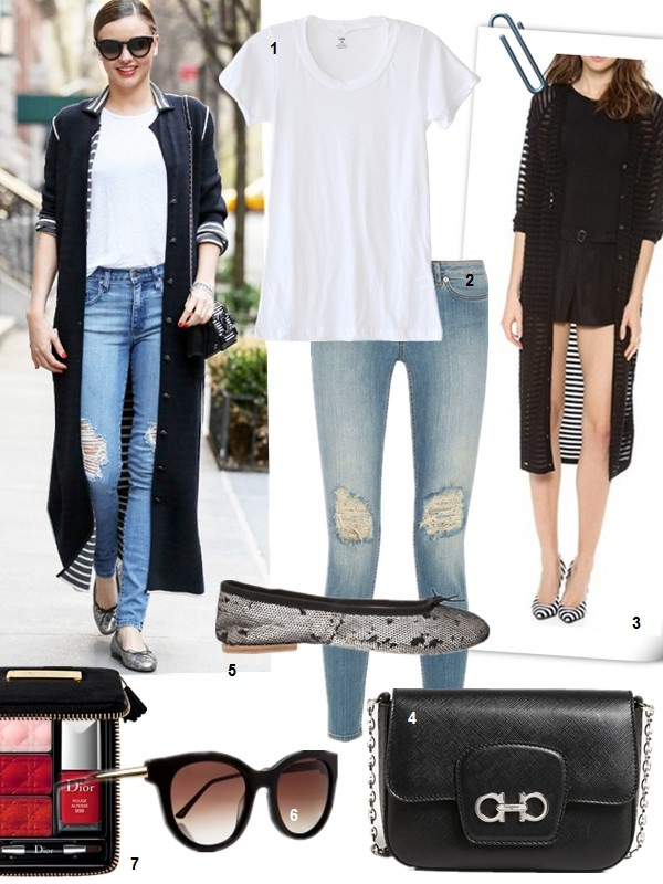 Miranda Kerr, street style 2014 featured: 1. LNA Crew Neck Tee  2. BLK DNM New 26 distressed low-rise skinny jeans (also love this boyfriend style)  3. Robert Rodriguez Burnout Stripe Long Cardigan (similar here)  4. Salvatore Ferragamo 'Paris' Leather Crossbody Bag black (great alternative here)  5. COLLECTION PRIVÉE? Sequin Ballet Flats (on sale! similar here)  6. Thierry Lasry Lively Sunglasses (similar here)  7. Dior Lip & Nail Palette, Twin-Set Colors